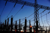 Electrical substation silhouette — Stock Photo
