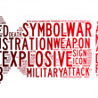 Bomb icon text clouds - Stock Photo