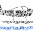 Amphibian plane text clouds — Stock Photo
