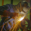 Welder on location — Stock Photo