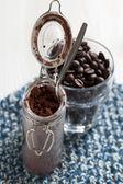 Cacao en poudre en pot de verre — Photo