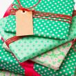 Wrapped gifts with tag — Stok fotoğraf