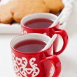 Christmas mulled wine and gingerbread — 图库照片