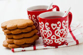 Christmas mulled wine and gingerbread — Stock Photo