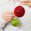 Stock Photo: Red and green Christmas baubles