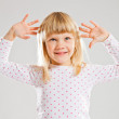 Happy young girl looking up — Stock Photo