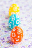 Colorful Easter egg candles — Stock Photo