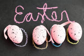 Pink Easter eggs and text — Stock Photo