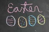 Easter egg shaped chalk drawings and text — 图库照片