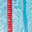 Swimming pool and lane rope — Stock Photo