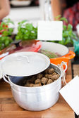 Meatballs in pot — Stock Photo