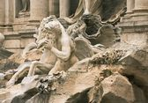 Fragment of the sculptural decoration of Trevi Fountain — Stock Photo