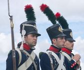 Three Napoleon's soldiers — Stock Photo