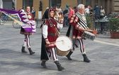 Group of medieval drummers — Stock Photo
