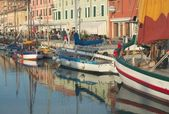 Evening in the port of Cesenatico — Stock Photo