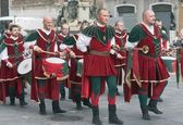 Procession of medieval musicians — Stock Photo