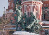 Statues of Minin and Pozharsky — Stock Photo