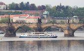 Prague. The river Vltava near the Charles bridge — Stock Photo