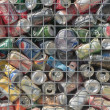Background of empty cans — Stock Photo