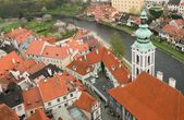 Panorama of Cesky Krumlov from a height — Stock Photo
