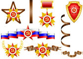 Vector set of military objects, related to 23 of February and Victory Day — Vecteur
