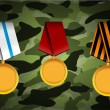 Vector set of military medals, related to Victory Day and 23 February - Stock Vector