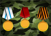 Vector set of military medals, related to Victory Day and 23 February — Stock Vector