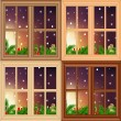 Vector set of Christmas windows — Stock Vector