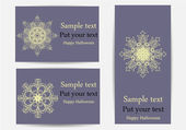 Vector set of greeting cards with snowflakes, dedicated to Merry Christmas and Happy New Year — Stock Vector