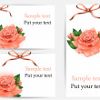 Set of beautiful gift cards with pastel roses and gift bows, may be used for Women's Day — Stock Vector