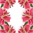 Beautiful gift card with pink lilies , may be used as a Woman's Day congratulation — Stock Vector #37953057