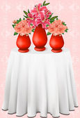 Vector beautiful bouquets of lilies and roses in vases — ストックベクタ