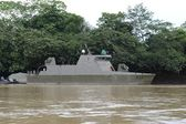 The military ship on the river Guaviare — Stock Photo