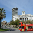 The tour bus on the streets in Barcelona, Spain . — Stock Photo