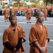 Monks of Shaolin monastery in China on parade of participants of international festival of military orchestras — Stock Photo #33099771