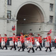 Orchestra of Switzerland on parade of participants of international festival of military orchestras — Stock Photo #33100475