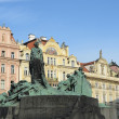Jan Hus Memorial on Old Town Square , Stare Mesto view, Prague, Czech Republic — Stock Photo #41623221