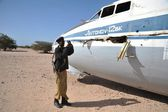 The plane crashed at the airport of the Berbera — Stock Photo