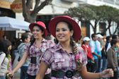The inhabitants of the city during the carnival in honor of the virgin of Guadalupe. — Stock Photo