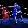 Two male boxers fighting in ring — Stock Photo #13479834