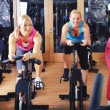 Beautiful women doing exercise in a spinning class at gym — Stock Photo #29885985