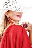 Beautiful Brunette Girl With Hat and Red Dress. Fashion Model. — Stock Photo