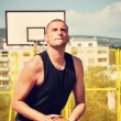 Stock Photo: Basketball player concentrate and preparing for shoot
