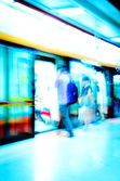 On subway platform leaving the train — Stock Photo