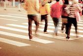 On zebra crossing street — Stock Photo