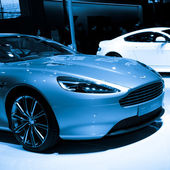 Aston Martin Virage sport car on display — Stock Photo