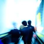 City passenger on elevator at subway station — Stock Photo #17556973