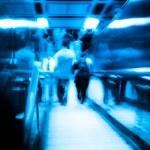 City passenger on elevator at subway station — Stock Photo #17557765