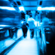 City passenger on elevator at subway station — Stock Photo #17558061