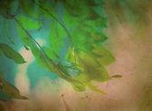 春天的自然绿叶老 grunge 纸张纹理 — 图库照片